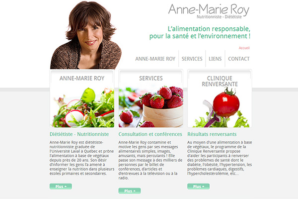 Conception web et intégration site internet - Anne-Marie Roy, nutritionniste