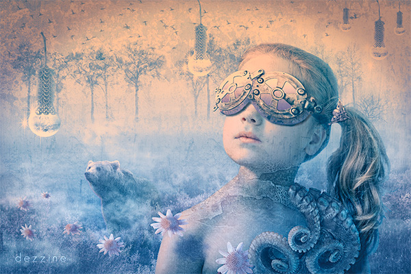 Fille et ours. Photomontage - Photo manipulation Photoshop
